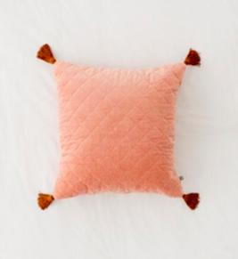 Rose Quilted Velvet Tassle Pillow /#043 / $10