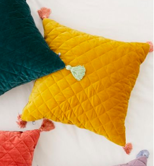 Mustard Quilted Velvet Tassle Pillow /#045 / $10