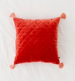 Rust Quilted Velvet Tassle Pillow /#044 / $10
