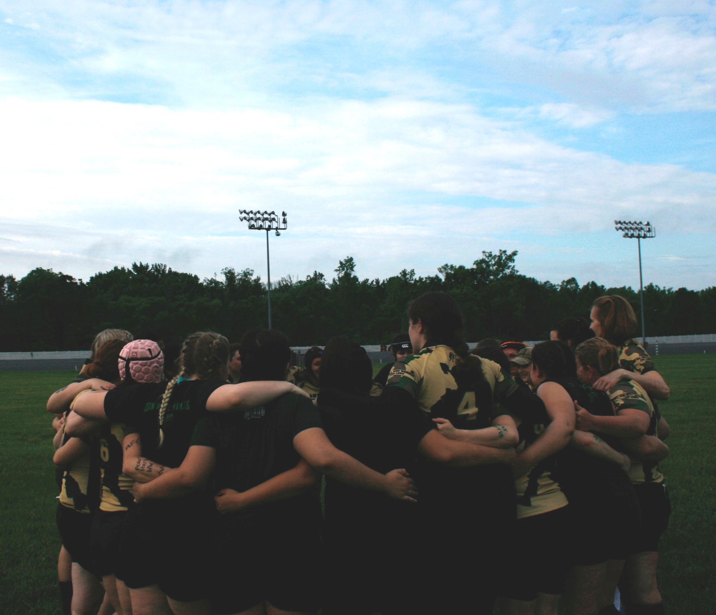 Photo Credit - Alley Mitchell  Wandering Warriors Women group together for a cheer before their first match of the day Honor Cup 2018 - Rosecroft Raceway