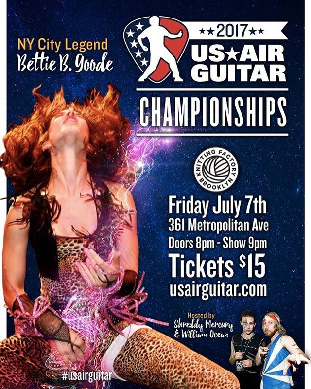 TONIGHT! We're rockin' out in #NYC! 7/7 | @knittingfactorybk | 8pm . . . #usairguitar #airguitar #competition #thingstodoinNY #brooklyn #knittingfactory #americasfavoritepasttime #USA #extremesports