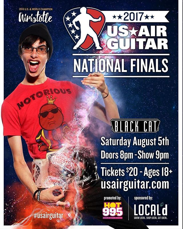 Can you believe it's almost here?! SATURDAY 8/5 @blackcatdc - we crown a new champion who will fly to Oulu, Finland to represent the USA at the @airguitarworldchampionships! If you're in DC, you don't want to miss this show!! . . . #usairguitar #airguitar #competition #USA #americasfavoritepasttime #thingstodo #thingstodoindc #dcevents #washingtondc