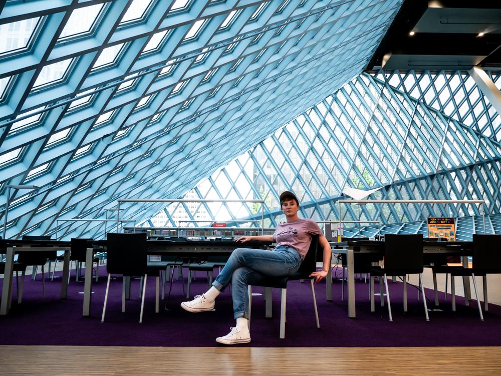 Seattle Library (self portrait)  Photo Credit: Kathleen Ayers