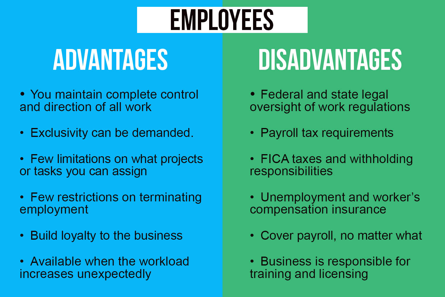 comparison of advantages and disadvantages of using employees
