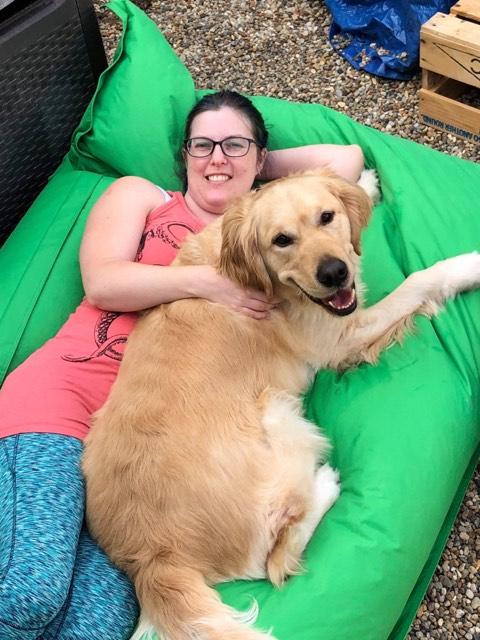 KIM & COOPER HER MOBILTIY GUIDE DOG…….