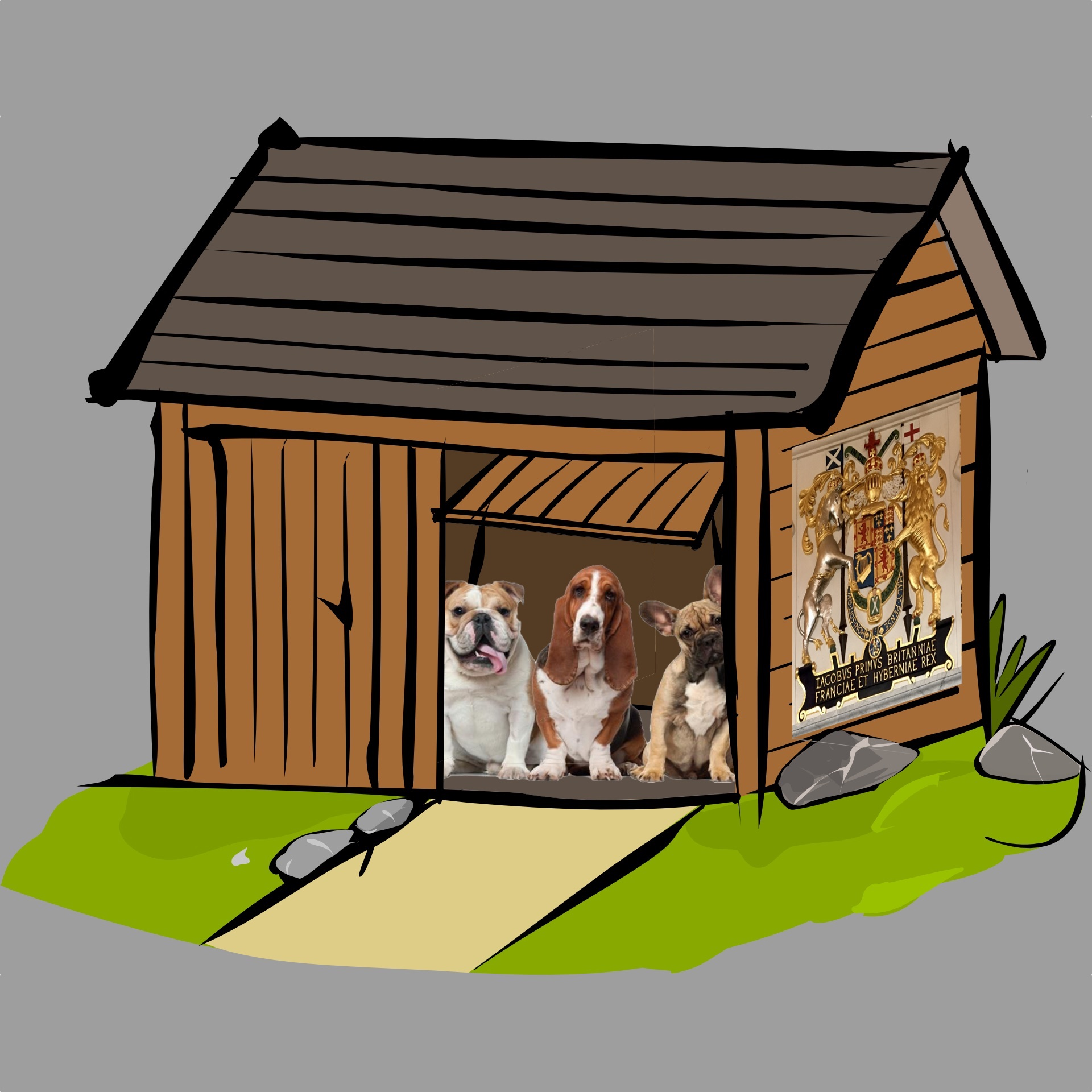Dogs in Shed with coat of arms.jpg