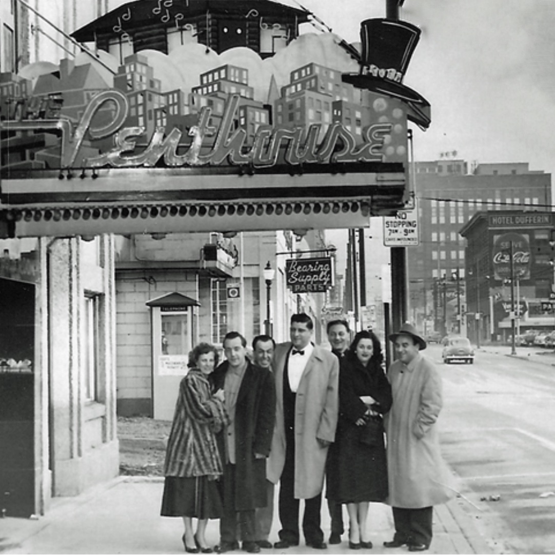 Ross Filippone with friends under the original marquee, 1957. Photo credit: Danny Filippone and the Penthouse.