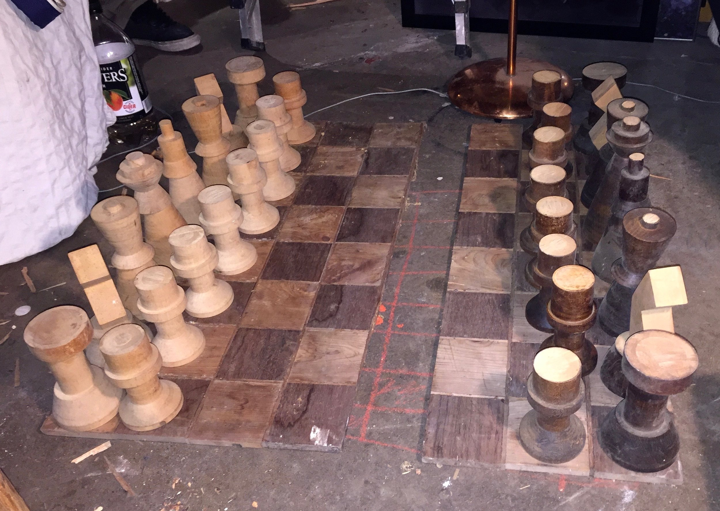 Another view of KJ's bowling pin chess set