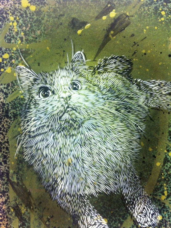 Untitled, by C215. Part of Cat Art Show 2014.