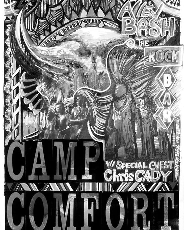 Camp Comfort live TONIGHT at The Rock Bar! Also featuring Chris Cady. Second annual Ally party.  A Rock Reggae band with hints of country from the Black Hills of SD. Playing a variety of originals and covers they bring high energy to every show. Go listen to the album. There is something for everyone on it.  Bringing original art posters limited edition by the one and only  Martin Hallock  #campcomfortmusic #campcomfort #livemusic #liveband #hifromsd #aliveinthe605