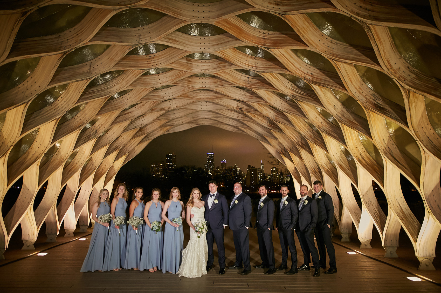 wedding day party lincoln park arch photo