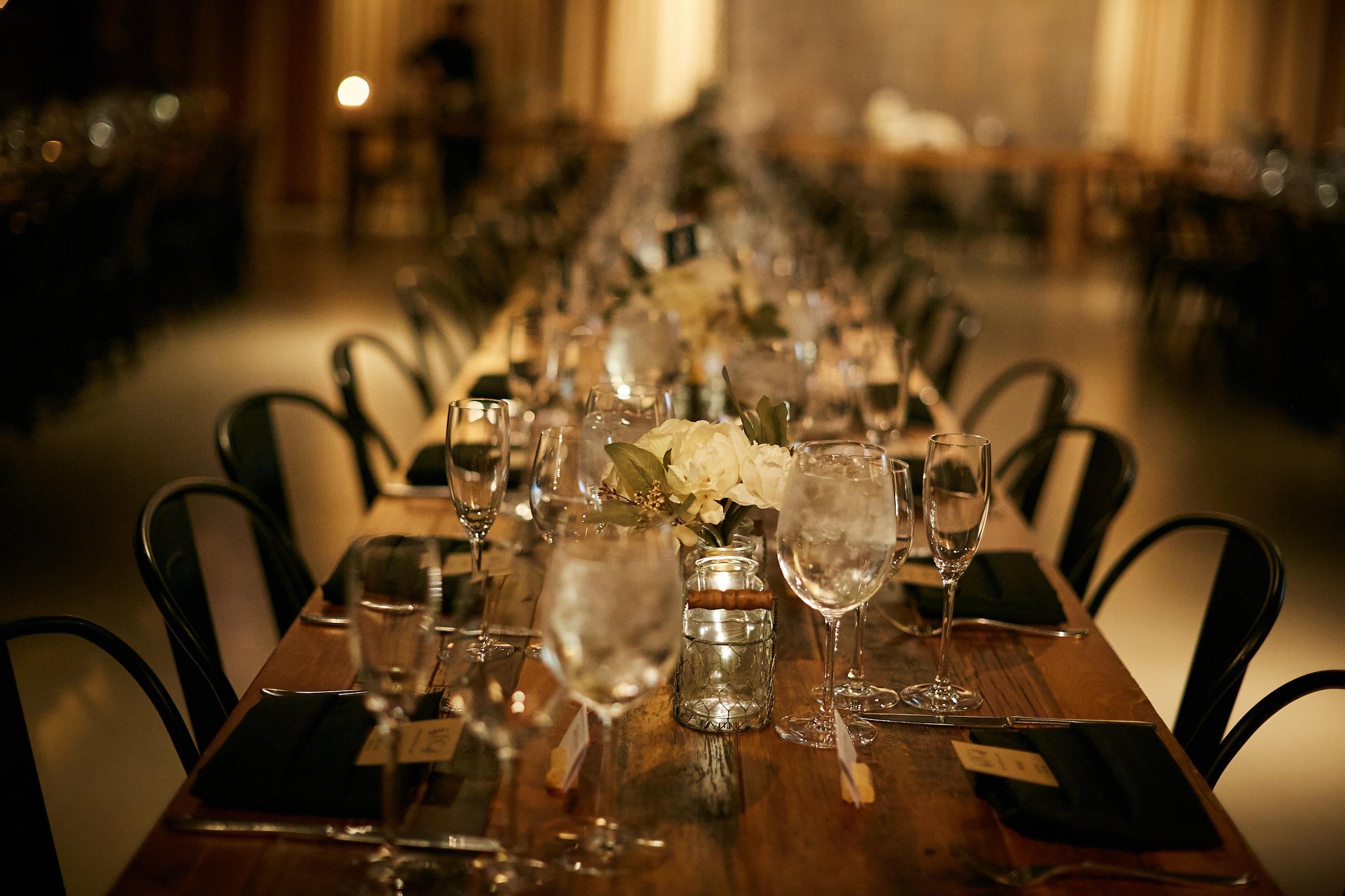 wedding reception table scape dinner guest venue