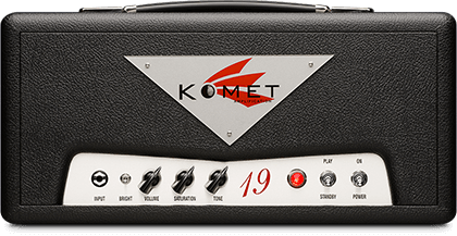 Komet 19   The 19 is a touch sensitive and versatile amplifier. It is designed for practically any guitar playing style, whether using single coil or humbucking pickups. This little amplifier can cover a multitude of tonal ranges - from shimmering cleans and chime, to searing high gain lead crunch tones, all controllable from your guitar's volume knob. Also available in 3 different combo configurations.