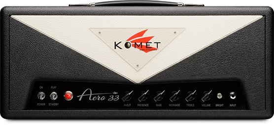 Aero 33   This new model is supremely touch responsive and beautifully musical in its sonic qualities. As with all Komet amplifiers, the Aero 33 feels as if it were wired to your finger tips - but this new design takes it to an entirely new level. It takes off with searing harmonics which are accentuated as you dig in.