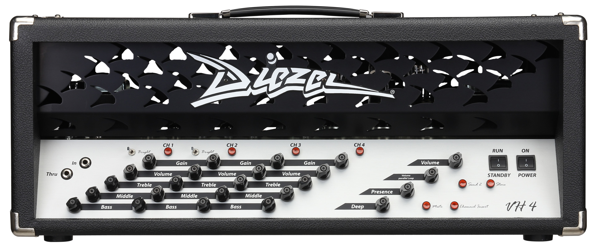 Diezel VH4   The iconic, first Diezel amp. Still made the exact same way as in 1992, the VH4 revolutionized the industry with its 4-Channel and individual inserts design.