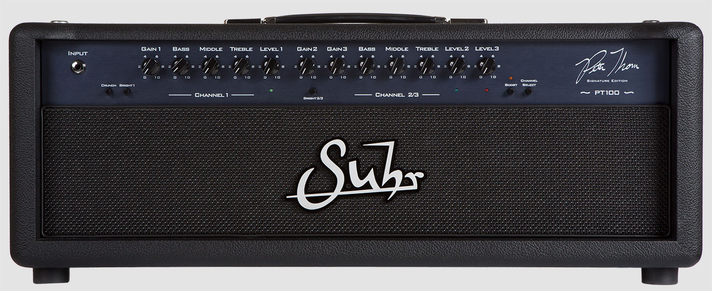 Suhr PT100   PT100 amplifier, we have created the ultimate, no compromise, multi-channel amp – now MIDI switchable.