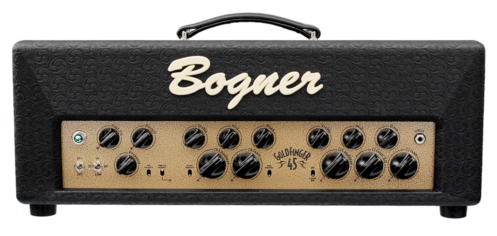 Bogner Goldfinger   The Goldfinger is based around the rich harmonic textures of the iconic 6V6 tube. Known for having a nice warmth and a creamy breakup at fairly low volumes, the 6V6 sings like an EL34 but has more chime for cleaner bell like tones.