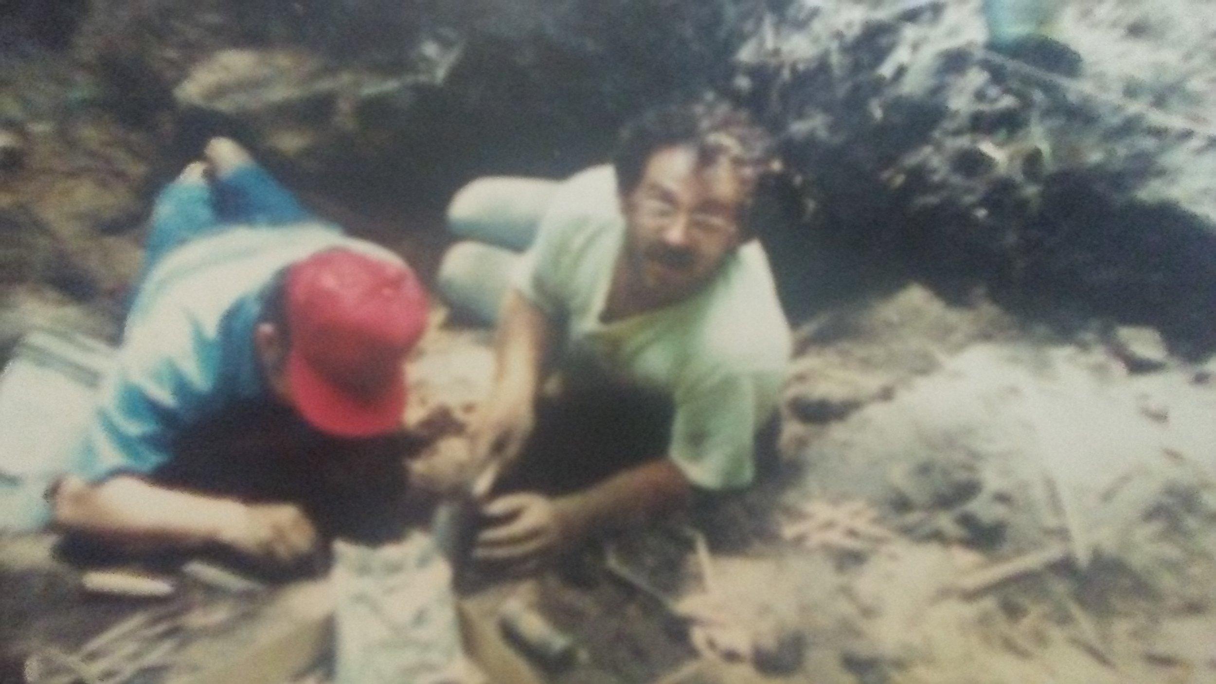 Tim Edwards digging at Seaman's Fort circa 1989