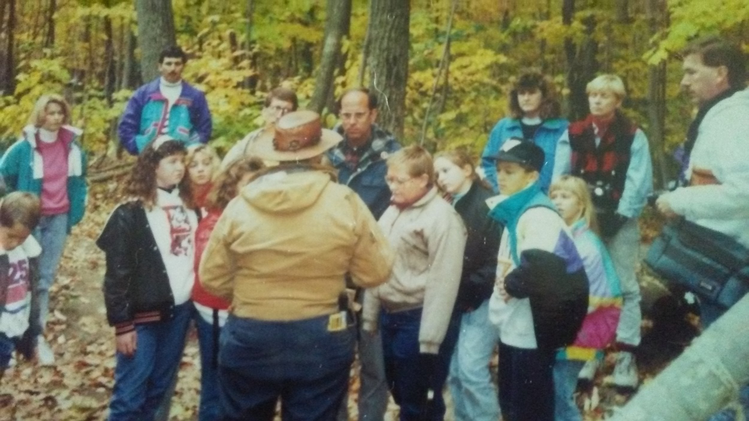 George Demuth and his fabulous hat giving a guided tour of Seaman's Fort circa 1991