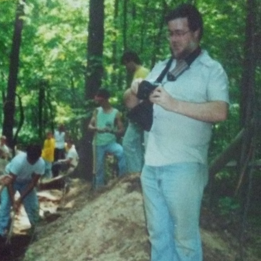 Dr. Dave Stothers overlooking the mound trench circa 1992