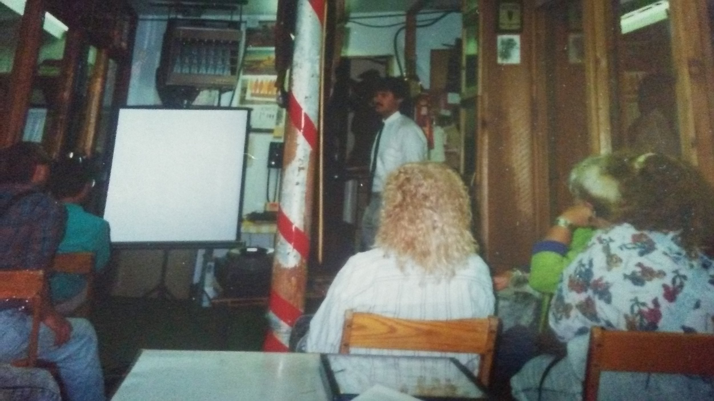 Dr. Tim Abel speaking for a chapter meeting at the former Sandusky Bay Indian Museum in Sandusky, Ohio. 1991