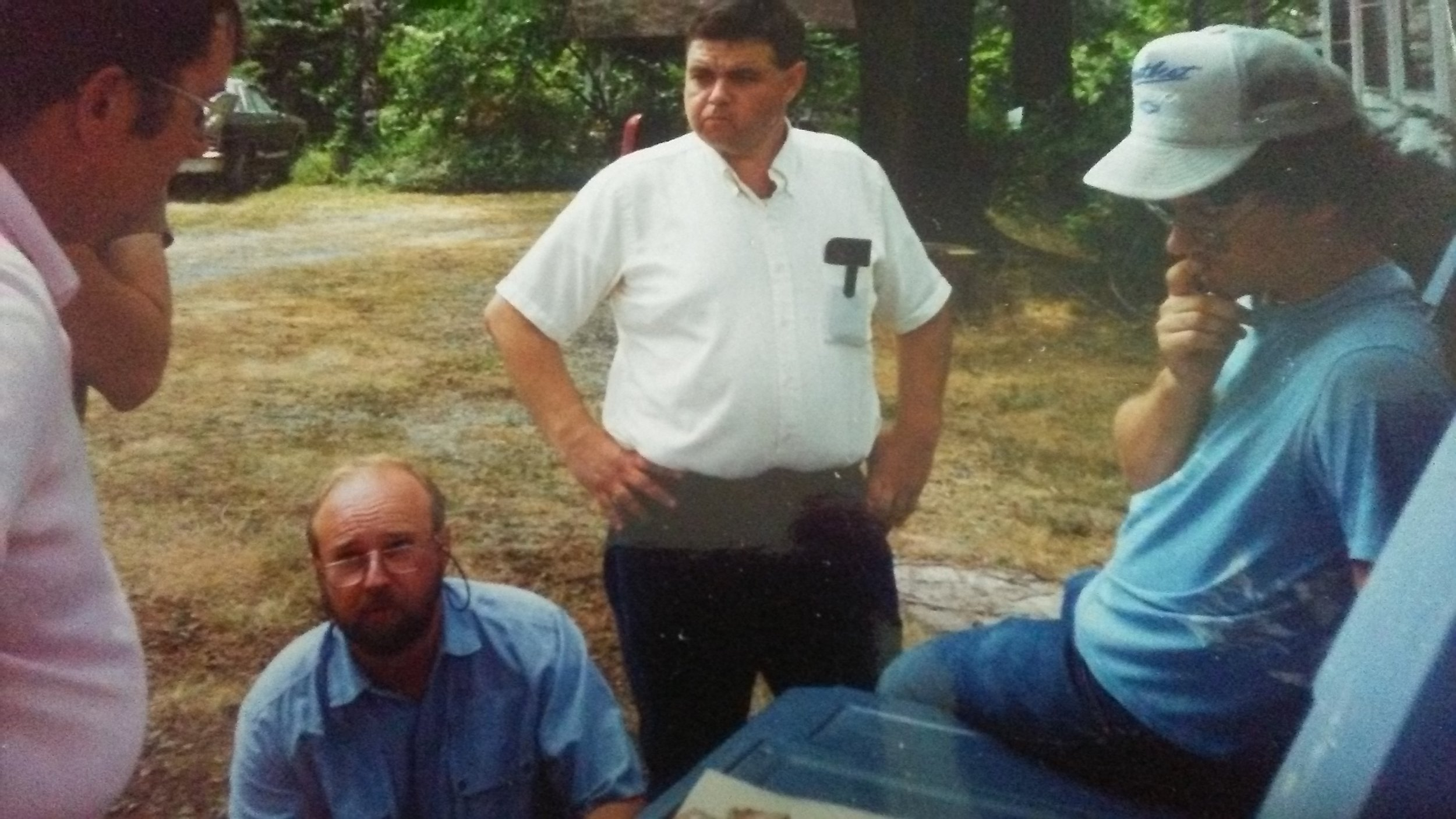 L-R George Demuth, Jim ..., Bill Wolfe, and Dr. Jeb Bowen at an ASO Picnic hosted By Col. Raymond Vietzen at his museum and home located in Elyria, Ohio. While the original Indian Ridge Museum is no longer there, there is a New Indian Ridge Museum curated by Col. Matt Nahorn.