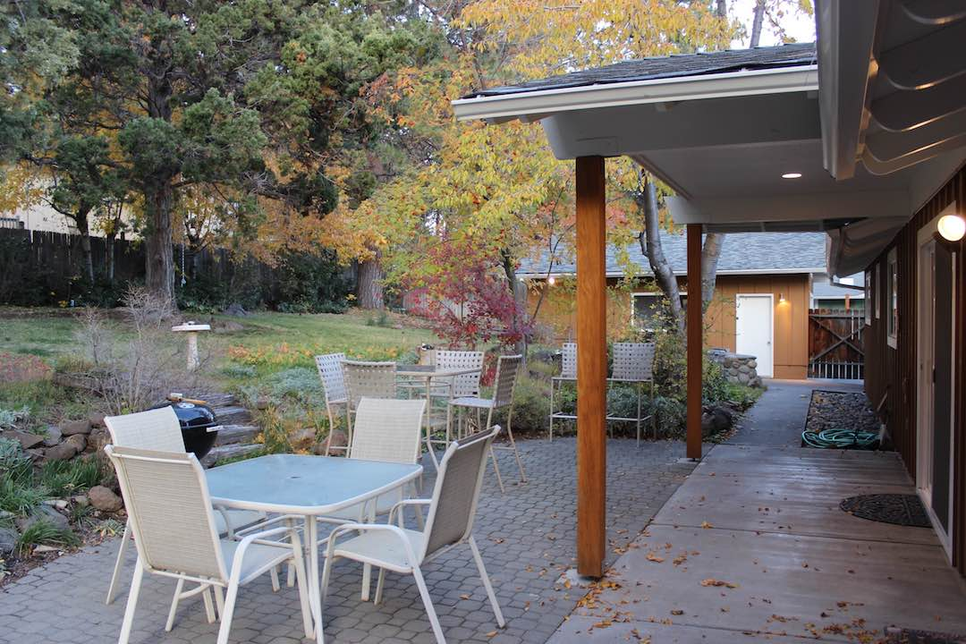 patio seating in private yard