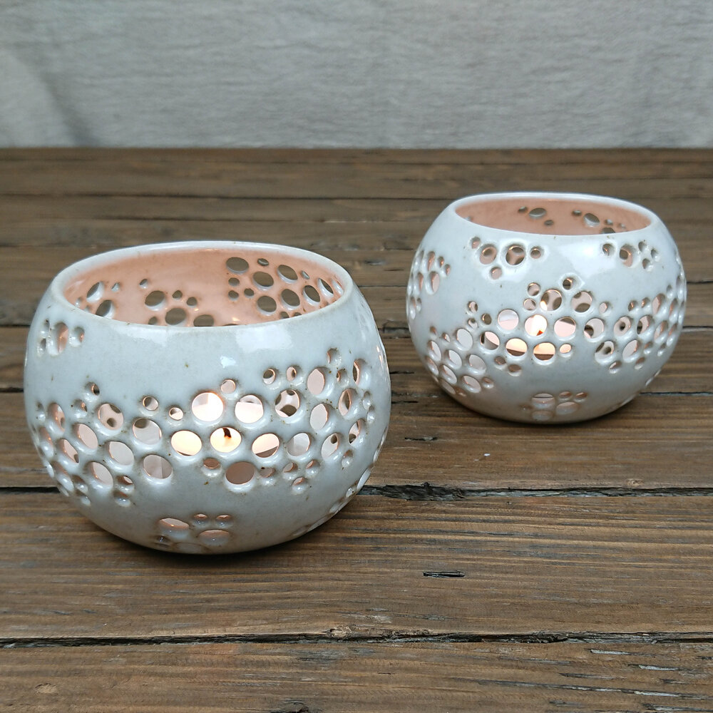 Handmade Ceramic Tealight Holder Intricate The Floral Fox Plastic Free Eco Friendly Vegan