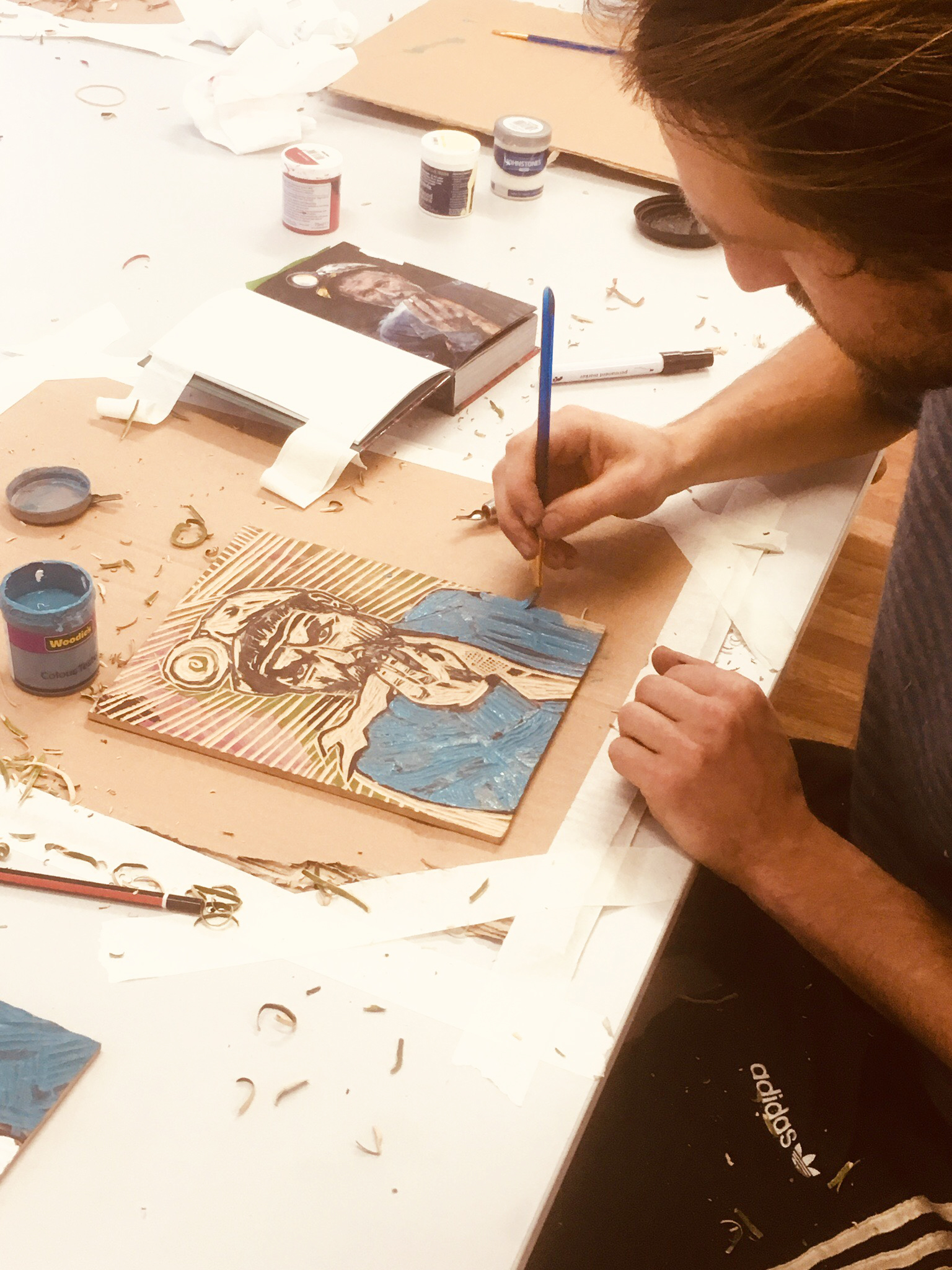 Art out of woodblocks. -
