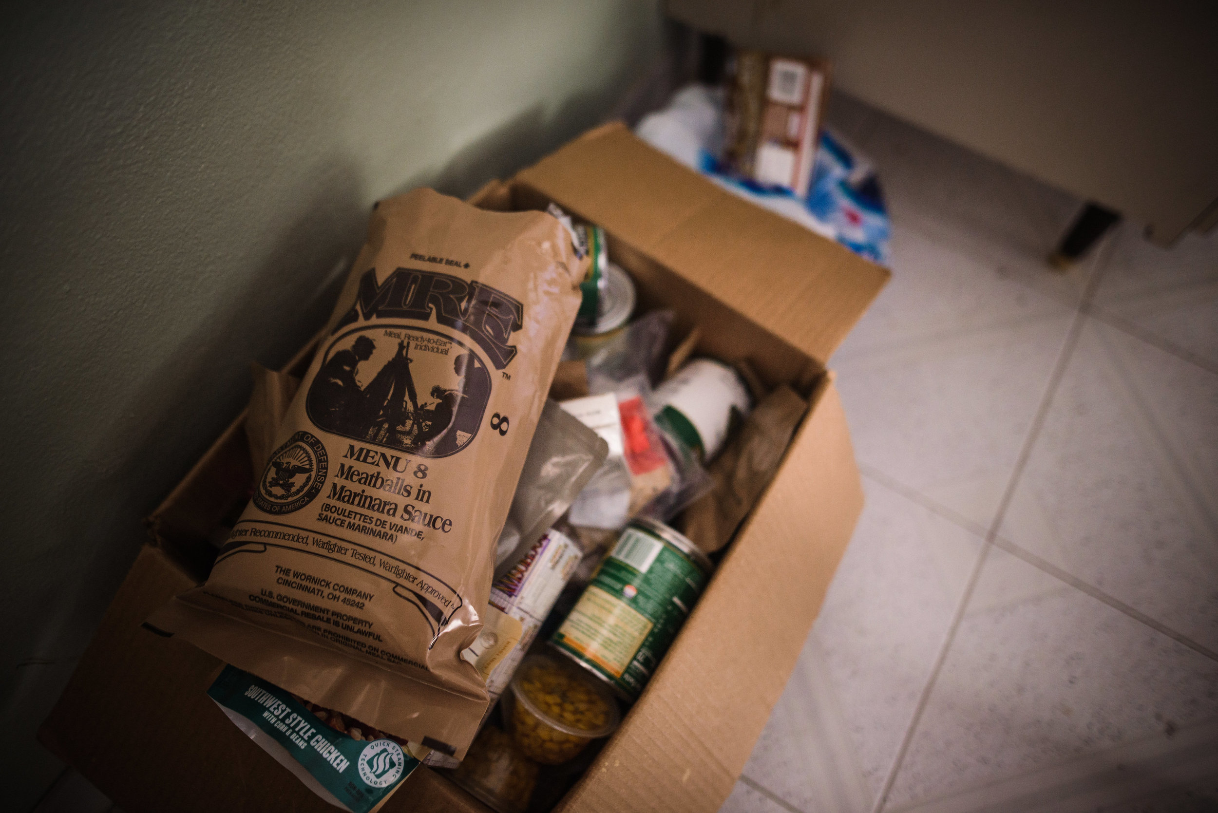 Photo credit: Aniya Emtage Legnaro  MRE (Meals Ready to Eat) packages are sent to the homes along with canned foods. Orocovis, Puerto Rico