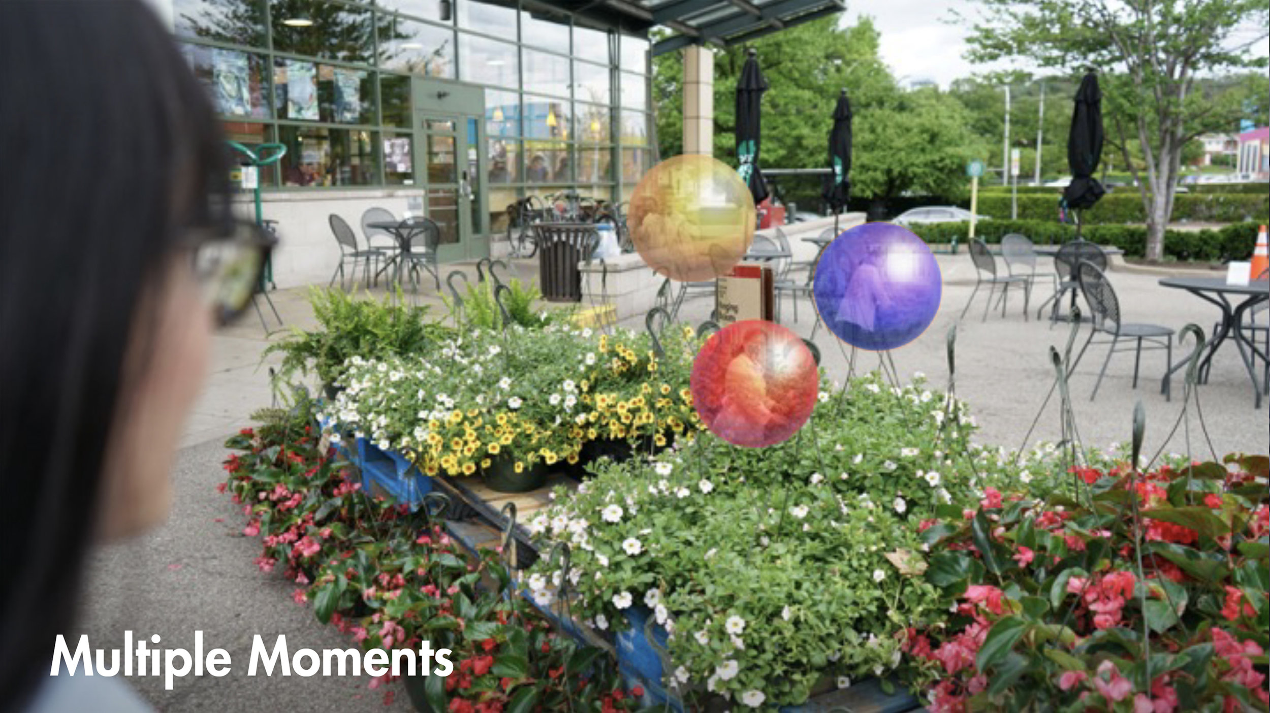 MULTIPLE MOMENTS - If user captures multiple moments at the same location in different days,Kioku will display the older one first, then newer ones once it is consumed. If multiple members capture at the same location, Kioku will differentiate the capturers by color.