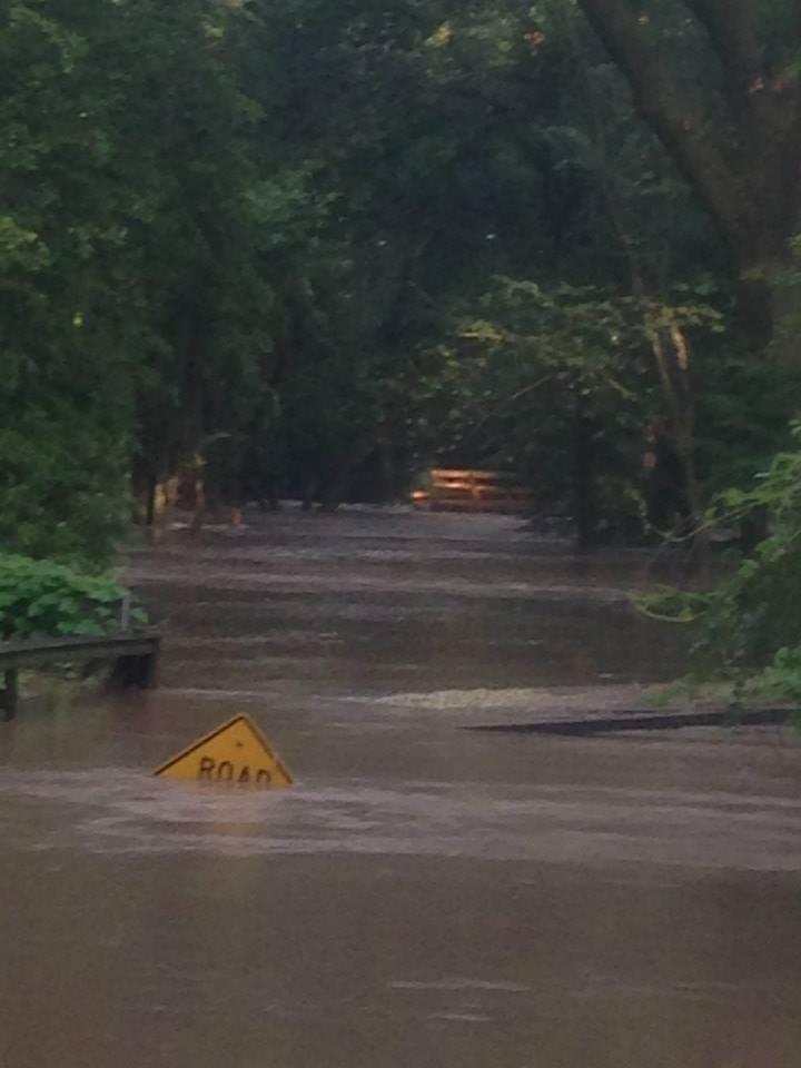 Water over 100 yr Pony Truss bridge on 90 Rd