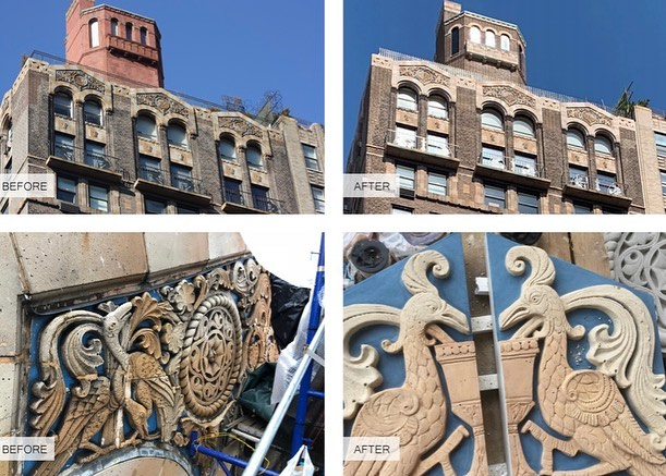 Opus is proud to have restored art deco elements dating back to 1926 of the marvelous 940 Park Avenue facade. #buildingpreservation #artdeco #nycrestoration #exteriorrestoration #stonerestoration