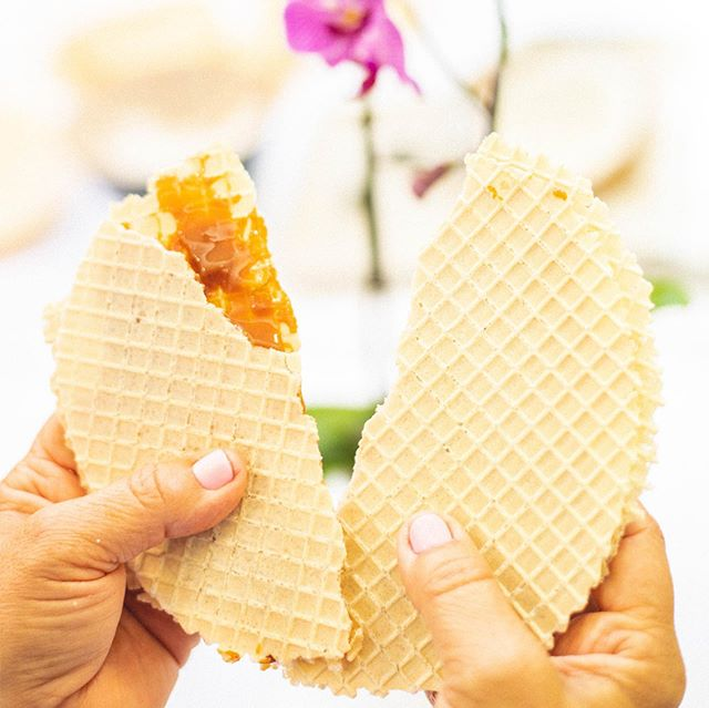 Our signature product is an Oblea, two crunchy wafers with dulce de leche that we make fresh to order. Top them with fresh shaved coconut, whipped cream or both! The Oblea is the perfect combination of sweet flavor and crispy texture in a mouthful bite.  #obleas #oblea #bocaditosf  #dulcedeleche #lacocinasf #colombiansnackeria  #manizales #colombia #waffles #snackero