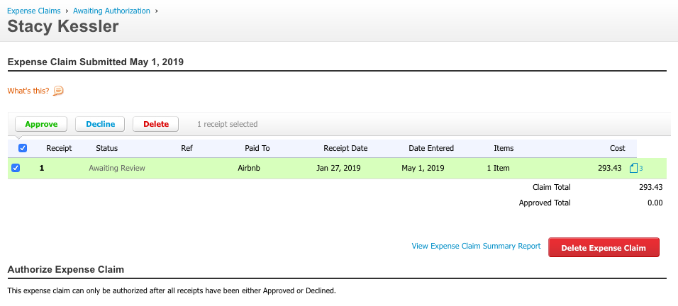 expense report for approval  xero- stacy kessler