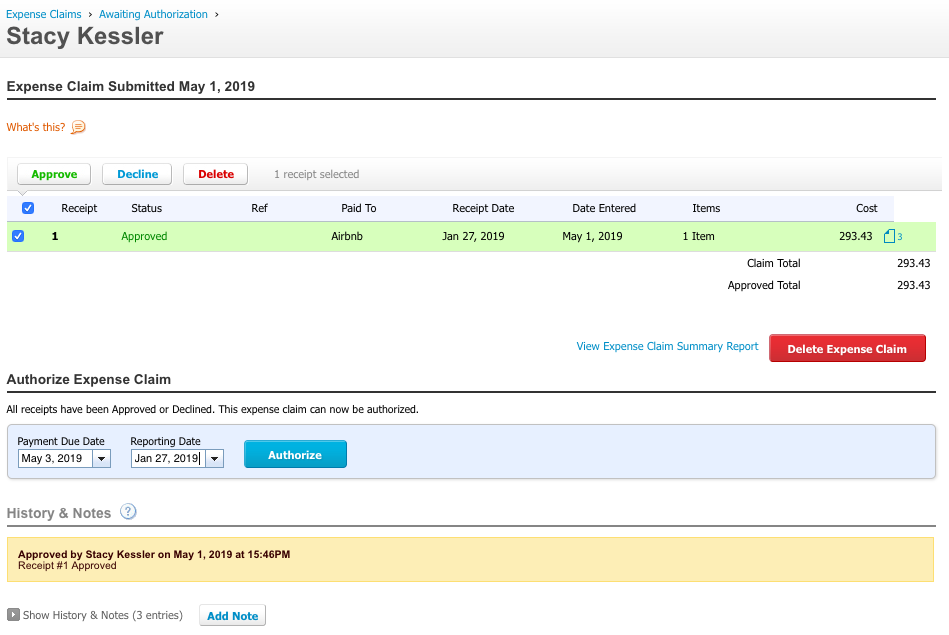 expense report for authorization xero - stacy kessler