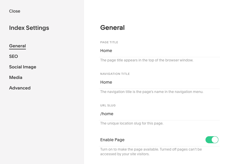 Squarespace page settings disable page add password.png