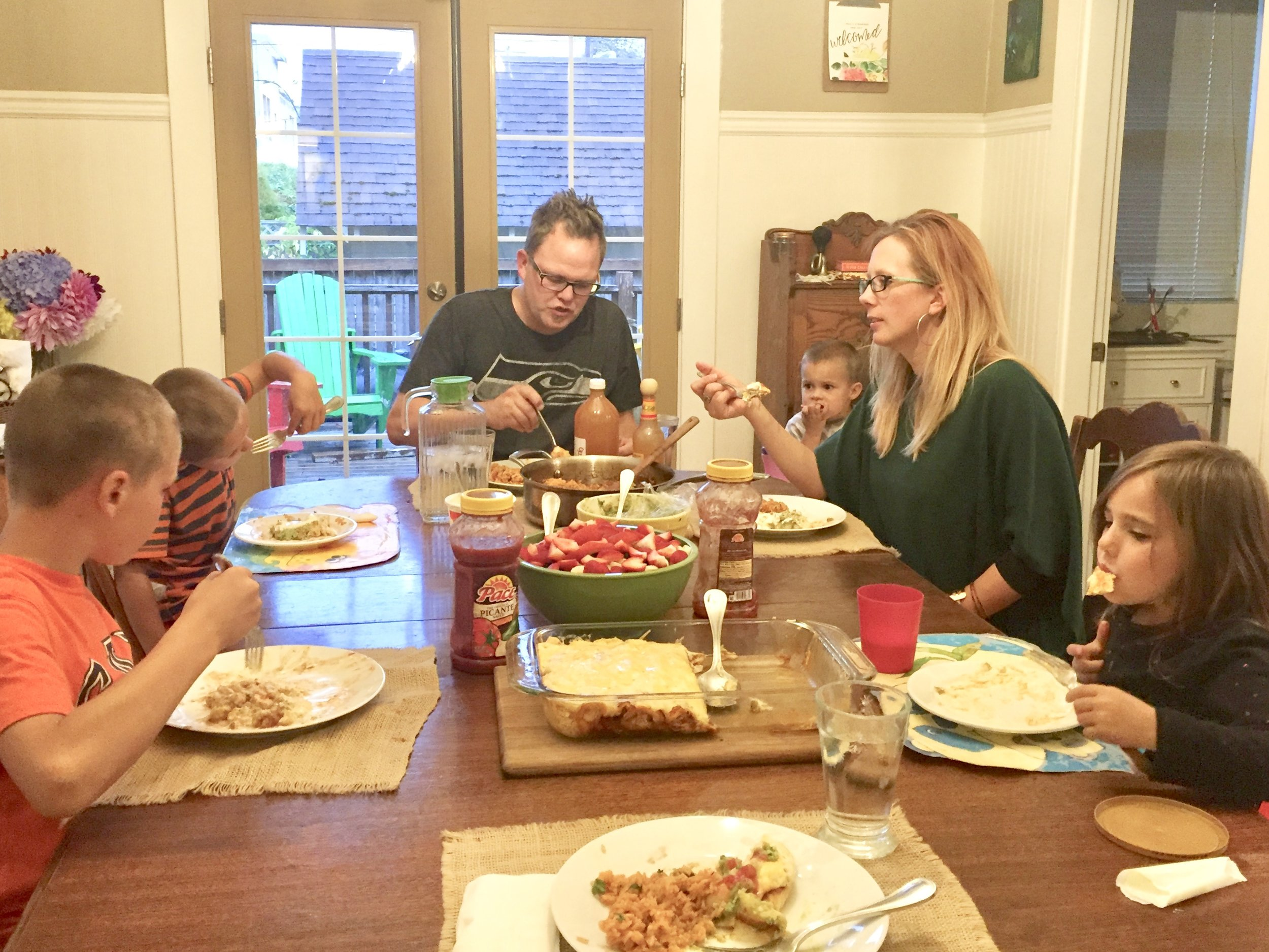 A normal family dinner at the Cooper table.