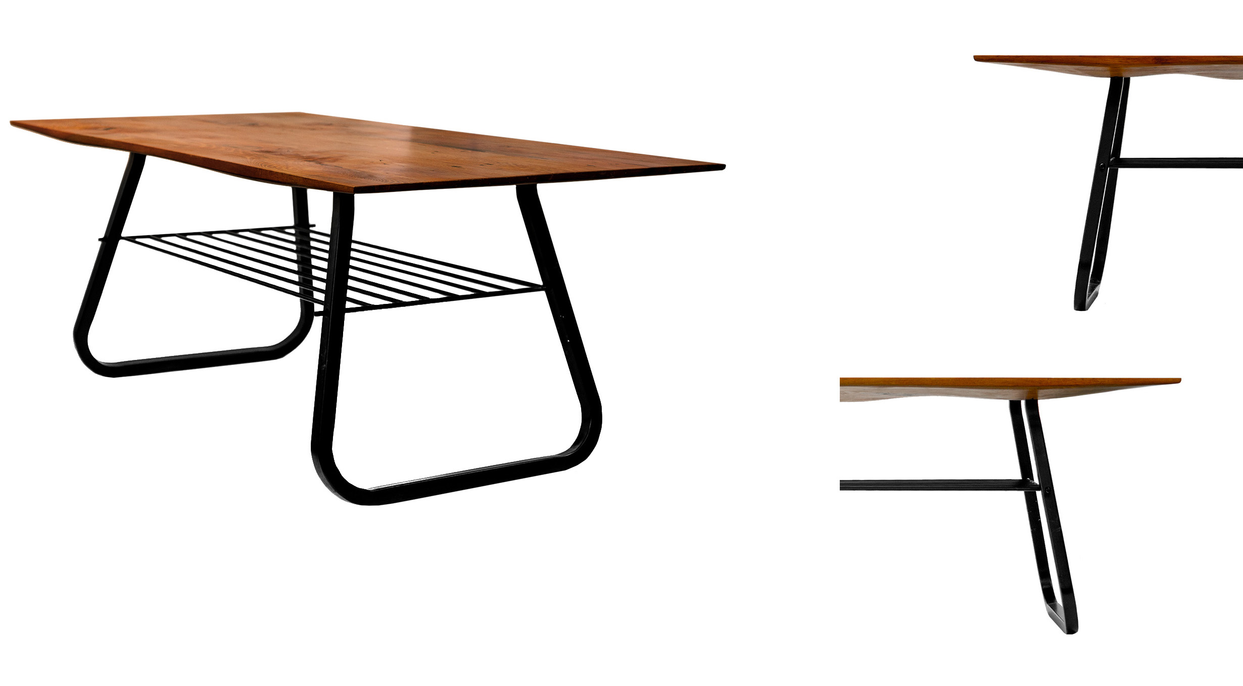 Vessel: a pair of tables for Waiheke; recyled Rimu and steel
