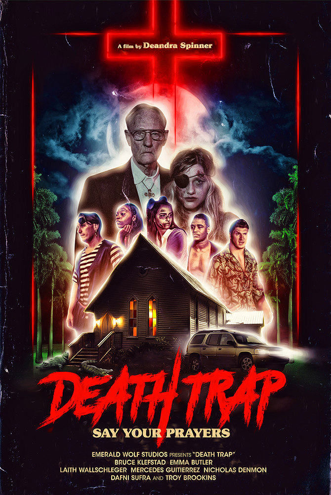 DEATH TRAP - Six friends crash their car on Halloween night and cross paths with sadistic Baptist zealots.