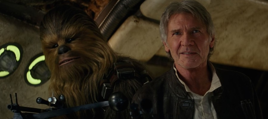It's impossible to deny that this is one homecoming  everyone wanted to see: Han Solo (Harrison Ford) and Chewbacca (Joonas Suotamo and Peter Mayhew) set foot aboard the  Millennium Falcon  for the first time in years.