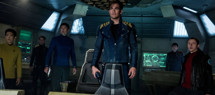 The crew of the  Enterprise  on the bridge of the reclaimed USS  Franklin .