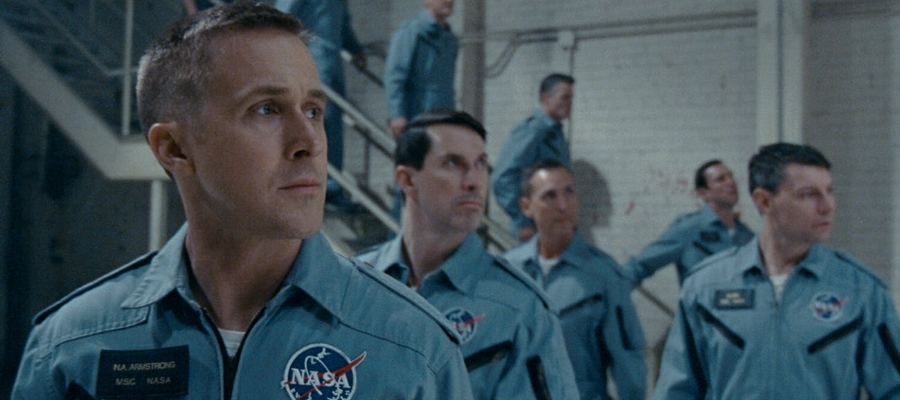 Astronaut Neil Armstrong (played by Ryan Gosling) is given a holistic examination in  First Man , looking at both his trailblazing career and his tumultuous family life in order to give the audience a very human perspective on the legendary and titular  First Man .