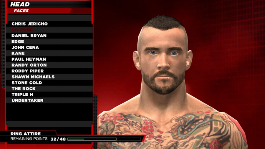 "This year's Creation Suite allows you to ""clone"" wrestlers already in the game, like CM Punk here, and customize all of their physical attributes."