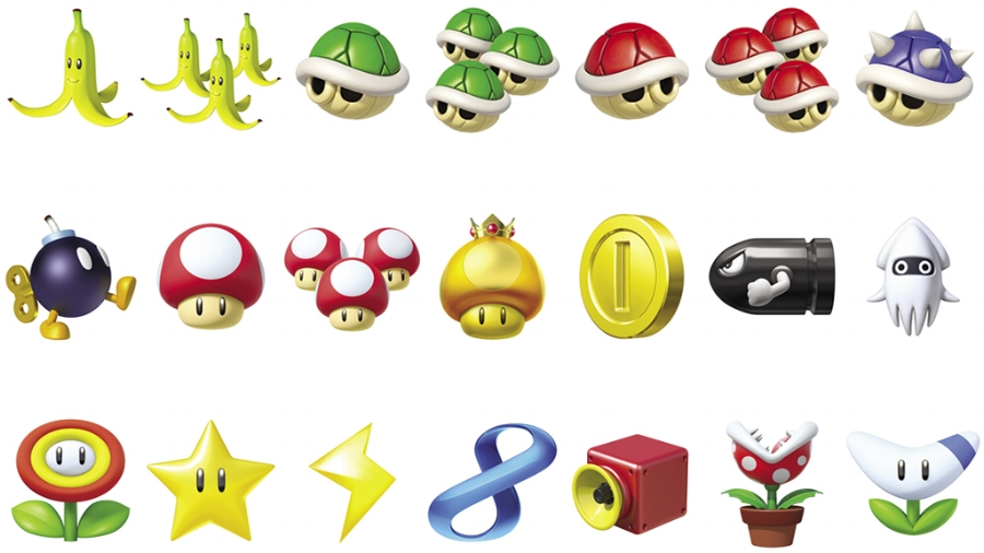 All of the items you can use in the game. Row 1 (L to R): Banana, Triple Bananas, Green Shell, Triple Green Shells, Red Shell, Triple Red Shells, Spiny Shell. Row 2: Bob-omb, Mushroom, Triple Mushrooms, Golden Mushroom, Coins, Bullet Bill, Blooper. Row 3: Fire Flower, Super Star, Lightning, Crazy 8, Super Horn, Piranha Plant, Boomerang Flower. The last four on row 3 are all new in  Mario Kart 8 .