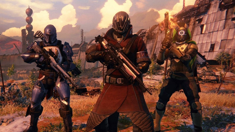 From L to R, the game's classes: Titan, Warlock, and Hunter. The social element is one of the best parts of playing  Destiny , but it's unfortunate that story missions can only be taken on by teams of three. Four would've been better.