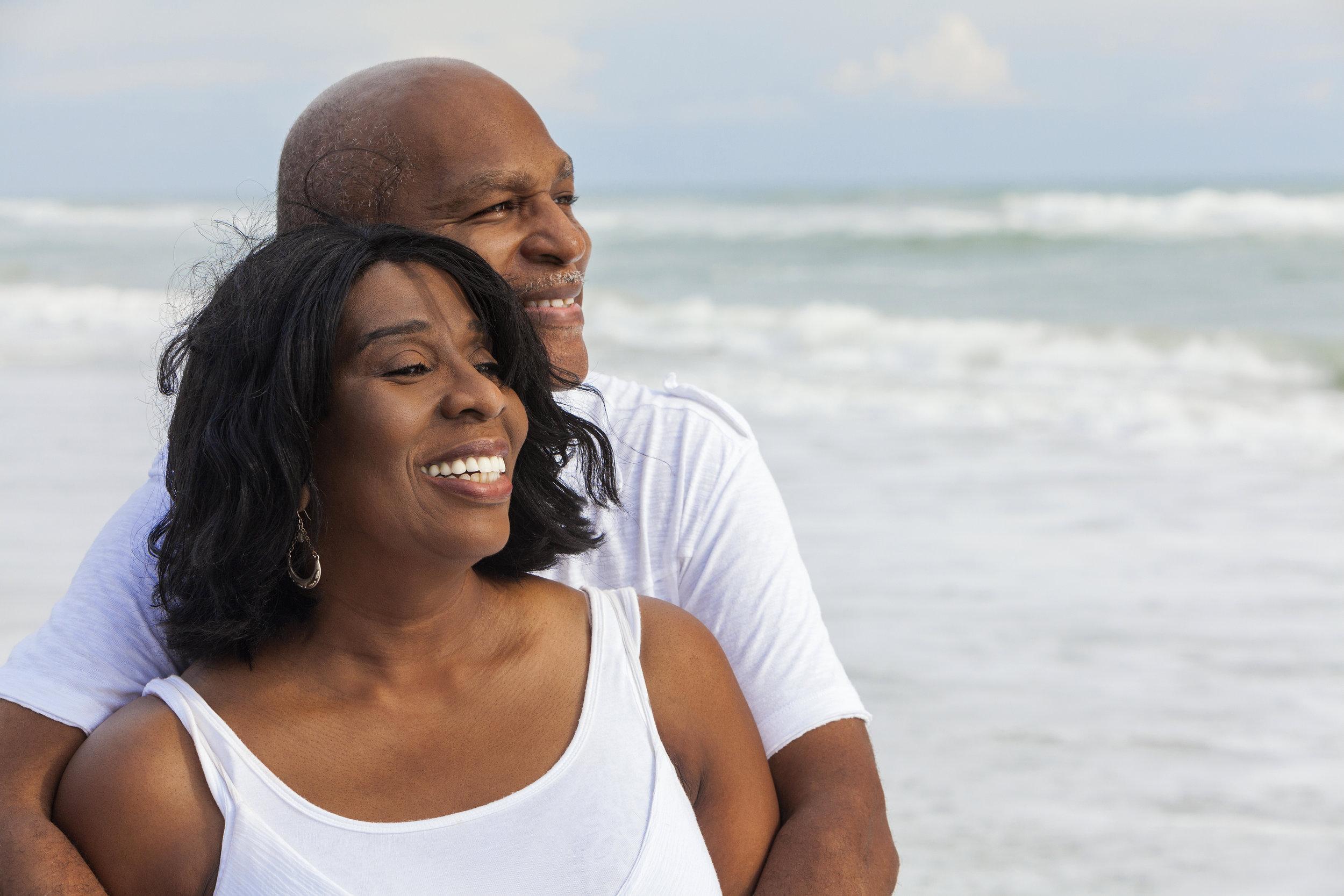 Happy couple beach portrait photo