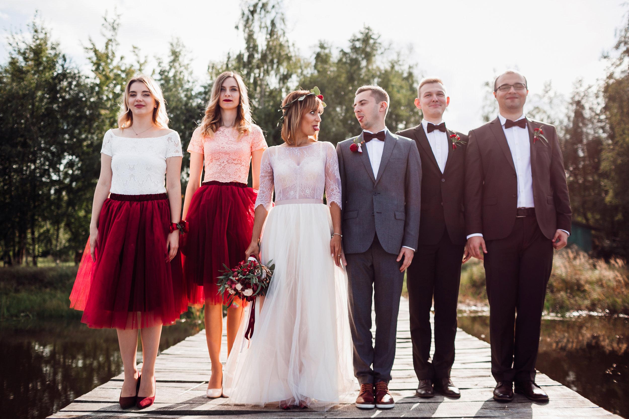 Outdoor wedding friends group photo