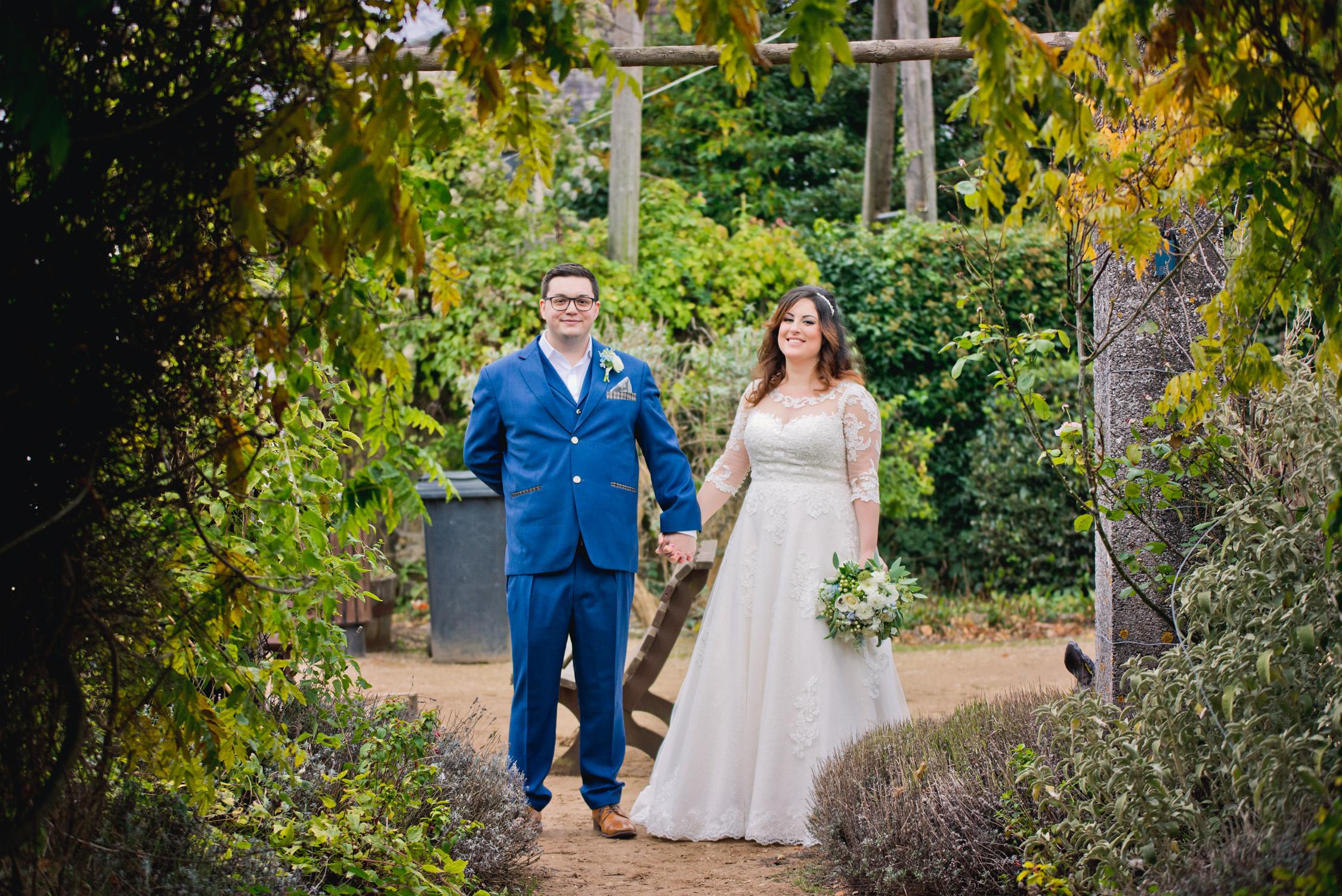 Happy couple wedding garden photo
