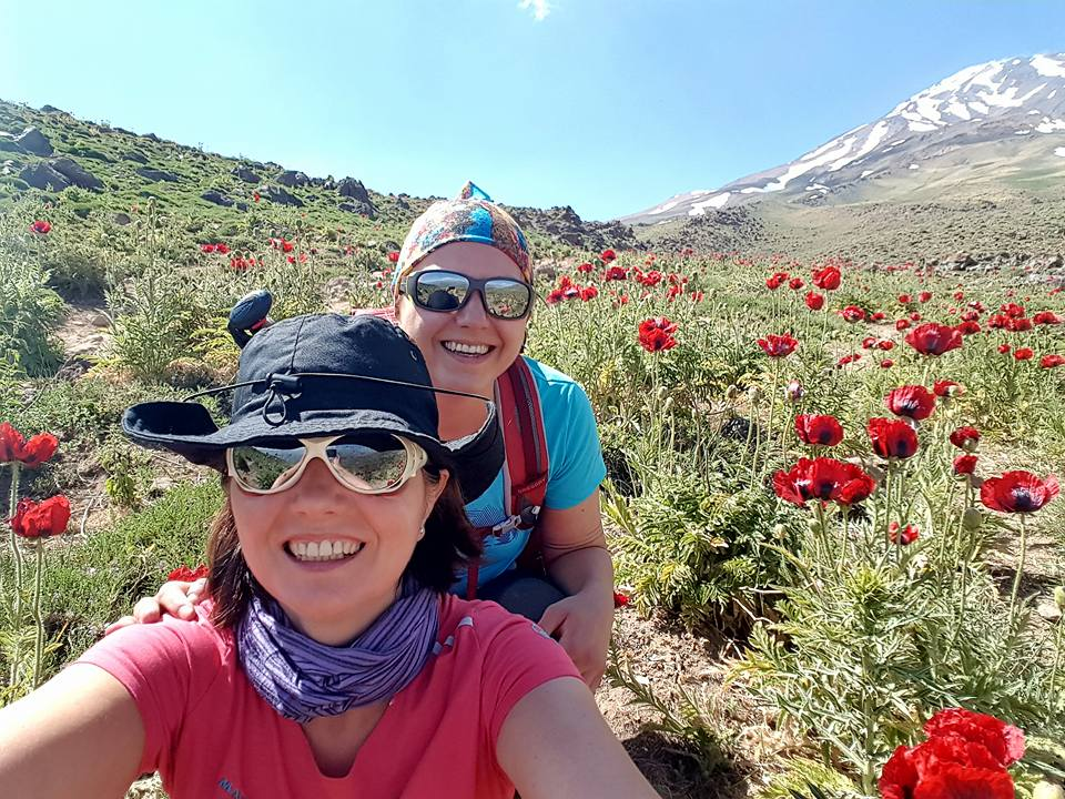 Hiking Mt. Damavand with my mother.